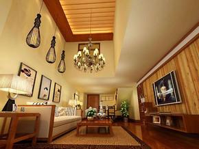 日式風格客廳吊頂吊燈裝修效果圖