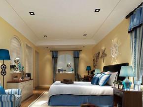 地中海风格卧室吊顶吊灯装修效果图