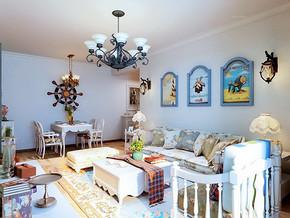 田园风格三室两厅装修整体效果图