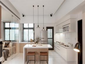 白色現代三室廚房裝修效果圖