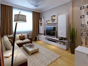 現代簡約客廳窗簾隔斷效果圖