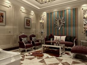 歐式復古風格客廳裝修效果圖