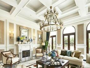 美式客厅吊顶吊灯装修设计效果图