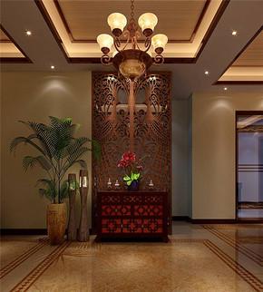中式風格客廳玄關裝修效果圖