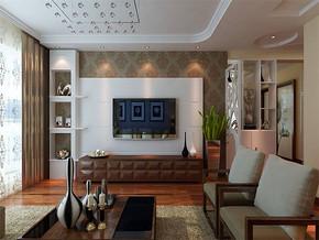 現代客廳電視背景墻效果圖