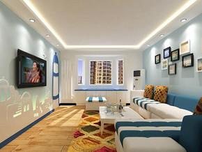 小户型地中海风格客厅电视背景墙装修效果图