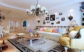 三室兩廳大戶型簡歐式客廳裝修效果圖
