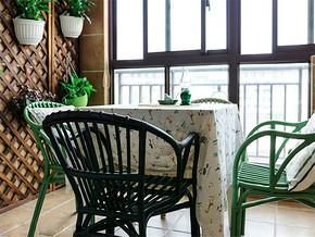 鄉村美式田園風休閑陽臺餐廳設計