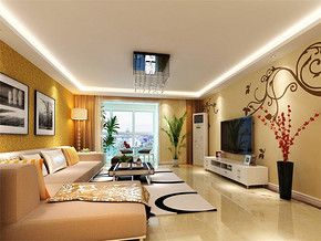 现代简约小客厅简装修效果图
