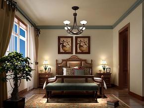 美式風格臥室吊燈裝修效果圖