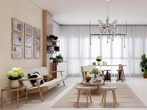 日式风格客厅背景墙装修效果图