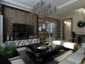 黑白现代简约客厅效果图