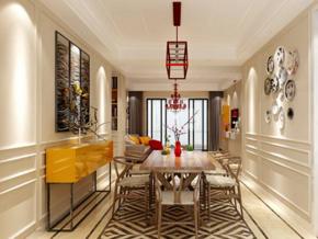 新中式風格餐廳墻面裝飾效果圖