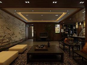 現代中式風格客廳吊頂裝修效果圖