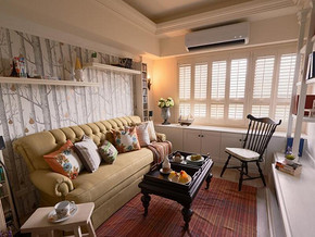 日式風格客廳沙發背景墻裝修效果圖