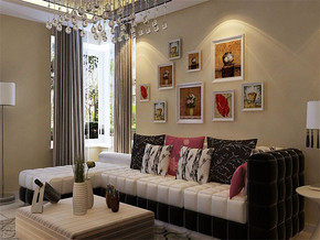现代客厅沙发墙效果图