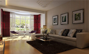 三室一廳現代風格大客廳裝修效果圖