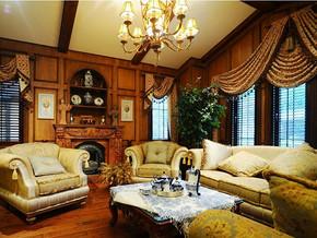 美式风格客厅背景墙装修效果图