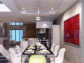 現代簡約風格餐廳吊燈裝修效果圖