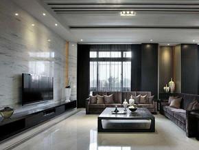 現代日式風格客廳電視背景墻裝修效果圖