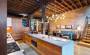 现代风格loft户型厨房橱柜装修效果图