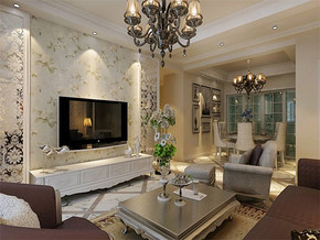 簡歐風格客廳居家室內設計效果圖