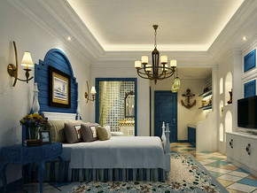 地中海田园风格卧室背景墙装修效果图