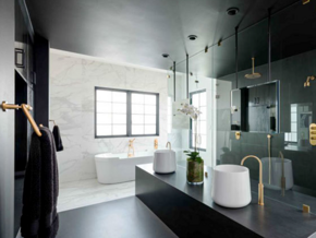 10平米現代風格黑色衛生間設計裝修效果圖