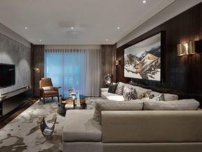 现代简约客厅背景装修效果图