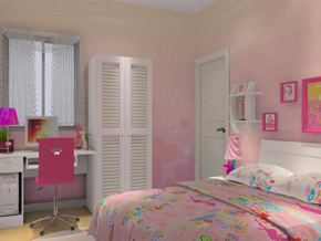 现代可爱风格女生卧室装修效果图