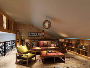 中式風格客廳沙發背景墻裝修效果圖