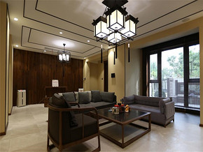 现代中式三室装修效果图