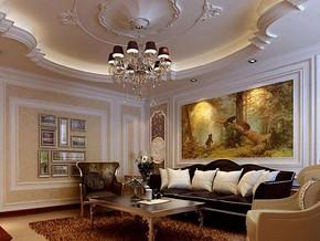 歐式風格客廳吊頂裝修效果圖