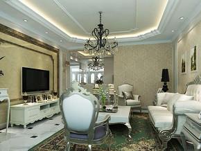 歐式風格客廳吊頂吊燈裝修效果圖
