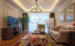 现代风格三居室客厅电视背景墙装修效果图