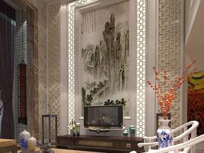 新中式風格客廳挑高電視背景墻裝修效果圖