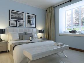 現代簡約風格臥室背景墻裝修效果圖