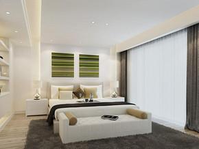 现代美式风格卧室背景墙装修效果图