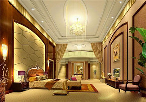 歐式奢華風格大臥室裝修效果圖