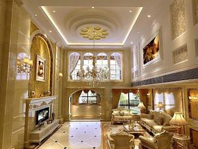 欧式别墅客厅中空吊顶装修效果图
