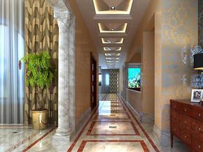 欧式古典风格门厅走廊吊顶装修效果图