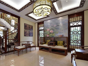中式风格客厅沙发背景装修效果图