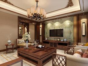 中式風格客廳電視背景墻裝修效果圖