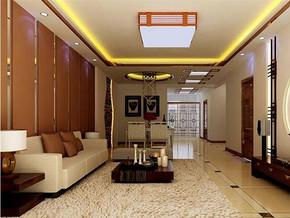 中式风格客厅吊顶吊灯装修效果图