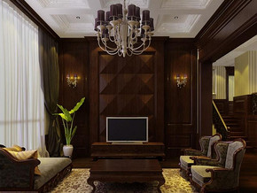 美式風格客廳吊燈吊頂裝修效果圖