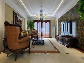美式风格三居室客厅电视墙效果图
