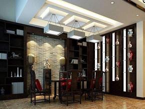 中式风格餐厅吊顶吊灯装修效果图