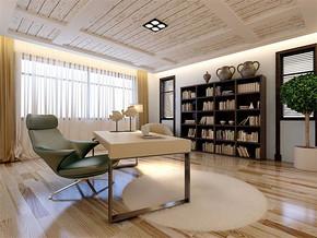 现代风格书房效果图