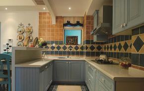 地中海風格小戶型廚房整體櫥柜裝修效果圖