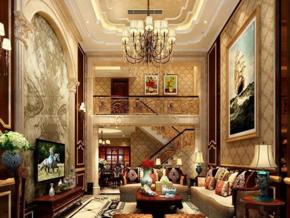 別墅歐式復古風格客廳裝修效果圖
